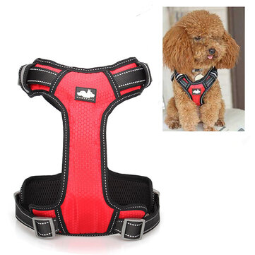 Nylon Dog Harness Chain Vest Type Mesh Pet Leash Breathable Adjustable S M L XL