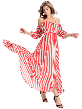 Women Elegant Chiffon Stripe Off Shoulder Maxi Dress