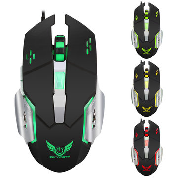 Zerodate X500DU 4 LED Light Effect 3200 DPI Adjustable Mechanical Macros Define Gaming Mouse for PC
