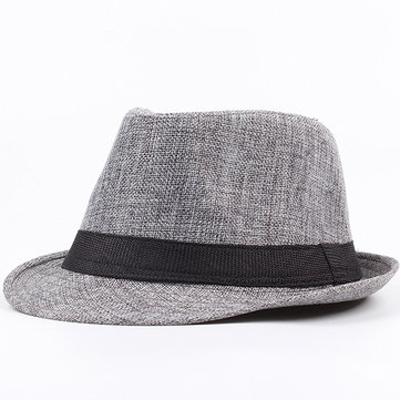 Men Unisex Linen Breathable Panama Fedora Jazz Dad Hats