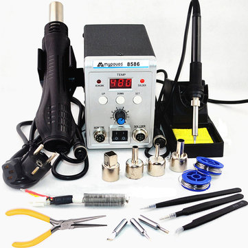 8586 2 In 1 750W Digital ESD Hot Air Gun Soldering Station Welding Solder Iron for IC SMD Desoldering Rework Station 220V