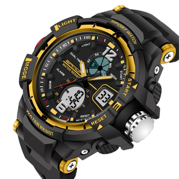 SANDA 289 Fashion LED Dual Display Men Watch 30M Waterproof Sport Digital Watch
