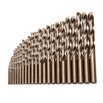 Drillpro 25pcs 1-13mm HSS M35 Cobalt Twist Drill Bit Set for Metal Wood Drilling