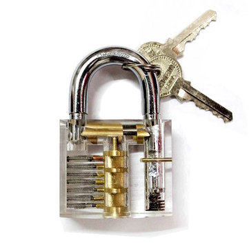 Transparent Cutaway Inside View Of Practice Padlock Lock Trainer Skill Pick with 2keys