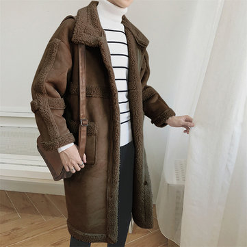 ChArmkpR Mens Thick Warm Mid-long Splice Shearling Coat Poly