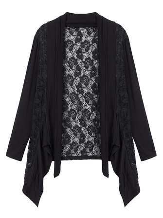 Asymmetrical Lace Patchwork Loose Cardigan For Women