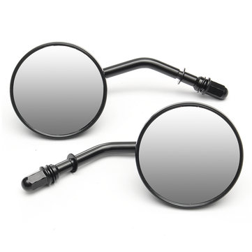 Pair Round 3inch Motorcycle Mirrors Black For Harley Davidson Ryca