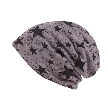Men Star Printing Cotton Knitted Beanie Hat Casual Hip-hop Slouch Skullies Cap