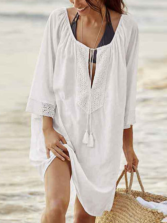 Women Loose V-Neck 3/4 Sleeve Sunscreen Cover Up Dress