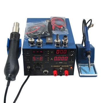 Saike 909D++ 3 in 1 Hot Air Rework Solder Iron Heat Gun Power Supply Welding Soldering Station