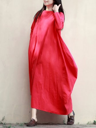Retro Women Boat Neck Pure Color Robe Maxi Dress