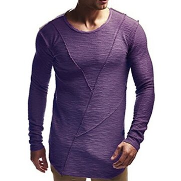INCERUN Mens Slim Elastic Long Sleeve T-Shirts Splicing Side Slit Hem Extra long Basic Tees