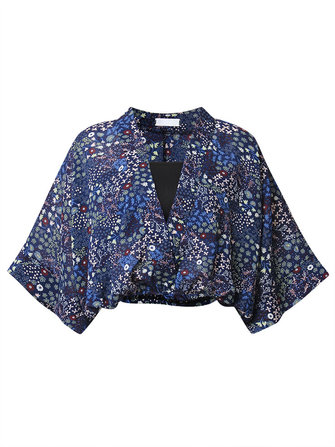 Sexy Women V Neck Batwing Sleeve Printed Chiffon Blouse