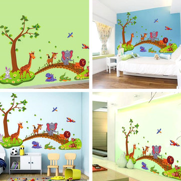 Baby Kids Nursery Cartoon Animal Removable Wallpaper DIY Sticker Tree Decal Art Cute Home Decoration