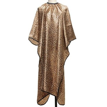 Soft Leopard Pattern Hairdressing Tape Robe Salon Tools Barber Cutting Cap Gown Cloth Adult