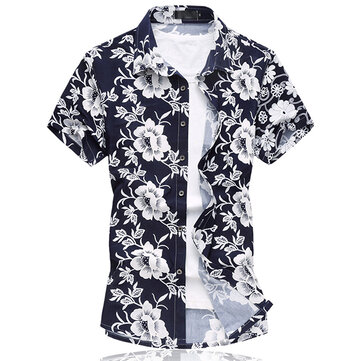 Mens Floral Printing Ice Silk Cotton Fashion Casual Summer Plus Size Hawaiian Beach Shirts