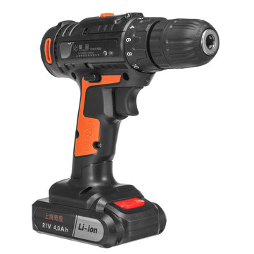 21V 4000mAh Cordless Power Drills 18+1 Electric Screw Driver Rechargeable with 2 Li-ion Batteries