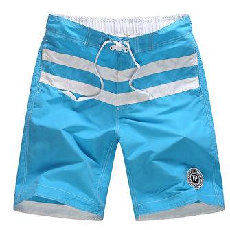 Mens Striped Printing Summer Swimming Surf Casual Quick Drying Pocket Beach Shorts