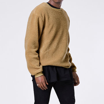 Men's Autumn Winter Crew Neck Fleece Fit Sweatshirt