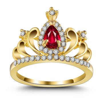 Zirconia Crown Ring 18K Gold Plated Engagement Princess Ring for Women