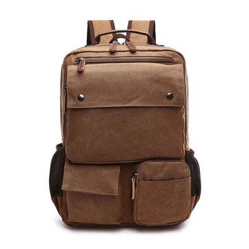 Men Canvas Big Capacity Travel Zipper Multifunctional Shoulders Bag Backpack