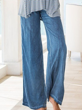 Casual Women Faux Denim Wide Leg Pants