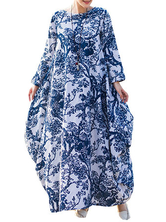 Loose Women Floral Printed Long Sleeve O-Neck Robe Dress