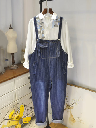 Loose Denim Stripe Pockets Loose Women Jumpsuit Rompers