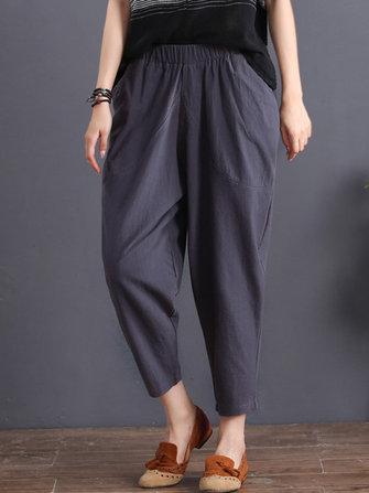 Women Cotton Elastic Waist Trousers Pants
