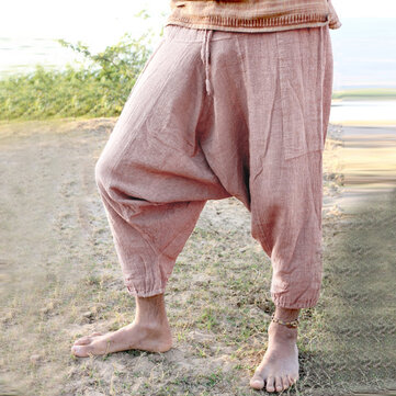 Men's Casual 100% Cotton Loose Vintage Pure Color Drawstring Crotch Pants