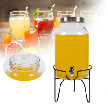 5.5L Drink Beverage Dispenser and Stand Beverage Water Juice Detox Glass Jar