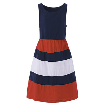Summer Kid Girls Striped Patchwork Sleeveless Tank Maxi Dress