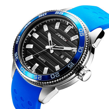 SINOBI 1255 Luminous Waterproof Sport Style Quartz Watch Silicone Strap Clock Men Watches