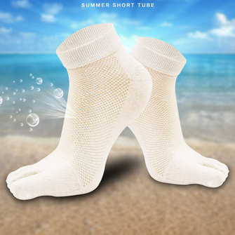 Five Toes Socks Mens Cotton Breathable Mesh Short Tube Deodorant Sweat Toe Socks