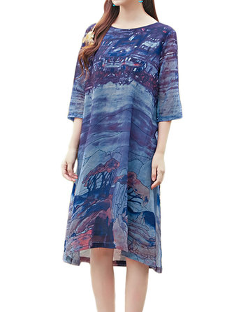 Casual Loose Chinese Ink Painting Printed Women Linen Dress