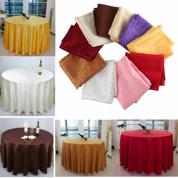 200cm Polyester Absorbent Round Tablecloth For Hotel Restaurant Wedding Decor