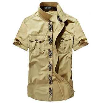 Mens Casual Stitching Color Shirt Double Pockets Short Sleeve Military Outdoor Shirts