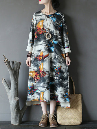 Vintage Women Butterfly Printed Long Sleeve Asymmetrical Sweatshirt Dress