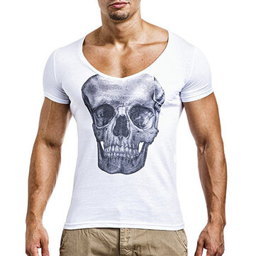 Mens Casual Skeleton Printed Short Sleeve Tops Summer Breathable Slim Fit Casual T-shirt