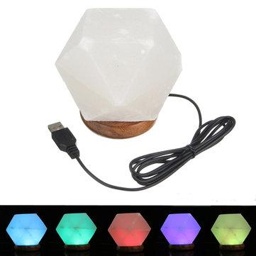 Natural Crystal Rock USB Salt Lamp Colorful LED Night Light Decor