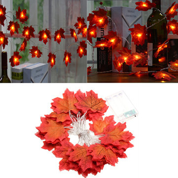 Battery Powered 3.3M 30LEDs Warm White Fall Leaves Indoor Fairy String Light for Christmas Wedding