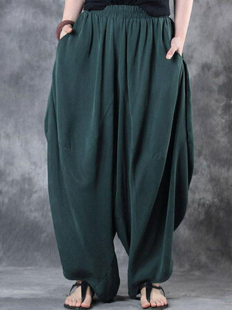 Women High Elastic Waist Pure Color Loose Harem Baggy Pants