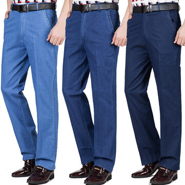 Mens Summer Thin Loose Elastic Straight Legs Business Casual Denim Pants Plus Size Jeans
