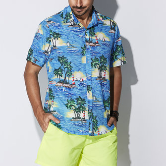 Mens Loose Hawaiian Style Coconut Tree Printing Beach Shirts