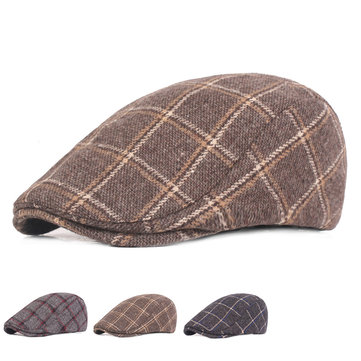 Mens Womens Winter Woolen Plaid Painter Beret Caps Outdor Adjustable Peaked Cap