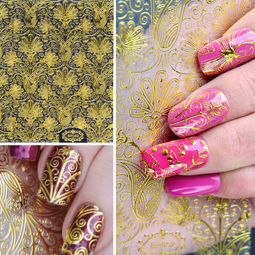 1 Sheet 3D Gold Embossed Nail Stickers Flower Blooming Decals Gorgeous Manicure