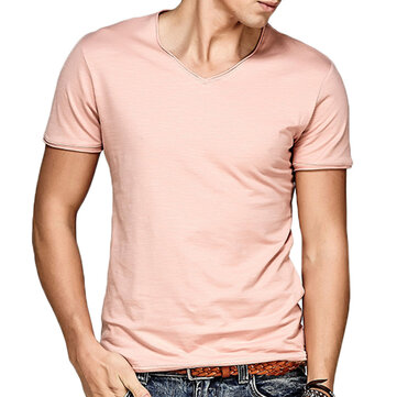 Mens Casual Solid Color Home Wear T-shirt Curled V-neck Breathable Cotton Short Sleeve T-shirt