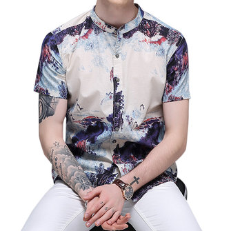 Mens Fashion Casual Linen Lnk Landscape Printing Summer Shir