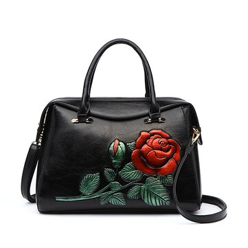 Brenice Emossed Floral Handbag Retro National Crossbody Bag