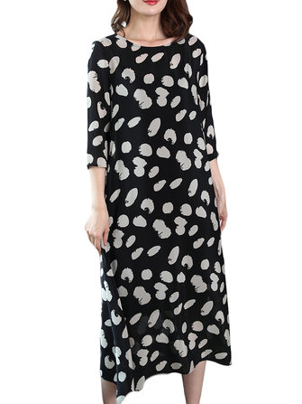 Summer Women Loose O-Neck Polka Dot 3/4 Sleeve Dress